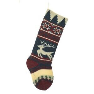 Vintage Reindeer Design Heavy Knit Christmas Stocking 20 Inch New