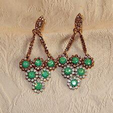 Boucle d`Oreille Femme en Clip Losange Cristal Vert Jaune Blanc Chic Joli J5