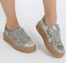 Public Desire Crushed Velvet Creepers Silver Women 9 Shoes Platform Sneakers