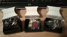 Lot 3 AVON Glittering Pendant Necklace,Button Earrings Red & Candy Cane Pin NEW