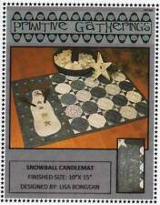 """Snowball Candle Mat Pattern by Lisa Bongean for Primitive Gatherings 10"""" X 15"""""""