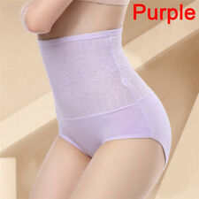 Women Tummy Control Lace High Waist Body Shaping Panties Shapewear Underwear BDA Purple L