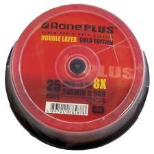 25 AONE DOPPIO STRATO MARCHIO non stampabile 8.5 GB (8x) Gold Edition DVD + R DL