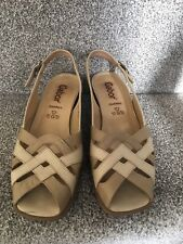 Gabor Comfort Leather Sandals Shoes Beige Tan Size UK 4.5 G Wide
