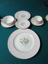 ADDERLEY ENGLAND PINK AND GOLD DINNER SETTING 7 PCS FLORAL