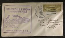1933 USS Macon Airship zeppelin First Visit  cover To Moffett Field Ca