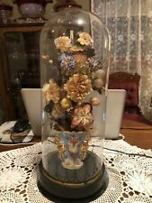Victorian glass dome - vase, wax fruit, flowers 17""