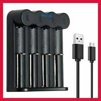18650 Battery Charger Compatible W 3.7V Li Ion IMR INR 14500 14650 18350 4 Slot