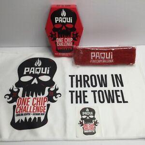 Paqui 2020 One Chip Challenge Carolina Reaper Towel Sweatband Sticker Set