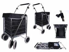 Nuevo Premium 6 ruedas Llano Negro Carrito de la compra carro de ropa de comestibles Plegable