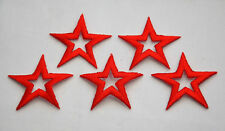 5ct RED STAR each 2' 5cm Embroidered Iron Sew On Cloth Patch Badge Applique Trim