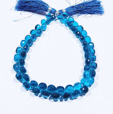 Blue Apatite Hydro Quartz Faceted Onion Beads 6x6 mm 7 Inch Strand