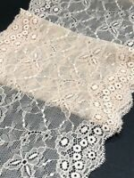 "laverslace Cream with Pale Pink Tone Wide Stretch Lace Trim 6/""//15 cm sewing"