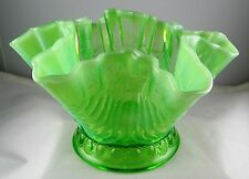 Northwood Green Opalescent Jewels & Drapery Whimsey Rose Bowl - Great