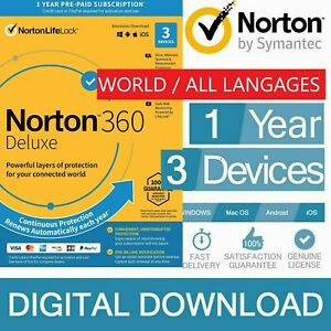 Internet Security Antivirus Norton 360 Deluxe 2021 1 Year 3 Devices PC MAC - VPN