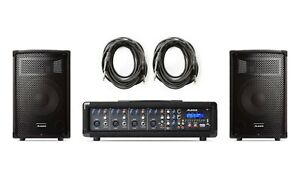 ALESIS PA SYSTEM IN A BOX 280W Amp 4-Channel Mixer w/ 10 inch Speakers & Cables