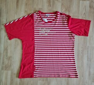 LADIES RED AND WHITE STRIPED COLOUR BLOCK T SHIRT PLUS SIZE 22