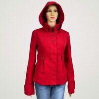 Jack by BB Dakota Hooded Button Snap Pea Coat Jacket MEDIUM Bright Red Faux Wool