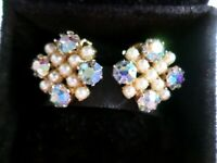 Vintage earrings Aurora Borealis Rhinestones & faux seed pearl clip on