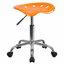 Orange Adjustable Height Task Stool Chair With Tractor Seat Dual Wheel Caster