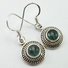 THEME RETRO ! 925 Solid Silver Authentic APATITE Gem HANDCRAFTED Earrings 3.0 CM
