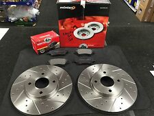 FOR FIAT 500 LOUNGE SPORT 1.2 1.3D BRAKE DISC MINTEX CROSS DRILLED GROOVED PADS