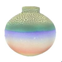 """Gorgeous 10"""" Round Multi-Colored Art Clay Pottery Vase - Artist Signed"""