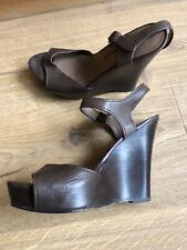 Pied A Terre Brown Leather Wedge Sandals UK4, EU37
