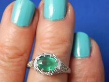 1.05ct Oval Colombian Green Emerald Filigree Ring Sterling Silver  Free Sizing