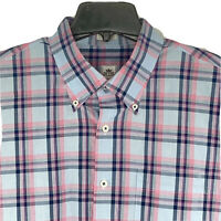 Peter Millar Mens XL Long Sleeve Button Down Pink/Blue/Black Plaid Shirt EUC