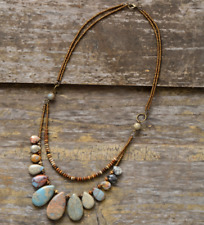 Natural Stone Teardrop Beaded Agate, Jasper Boho Layered Chakra Necklace