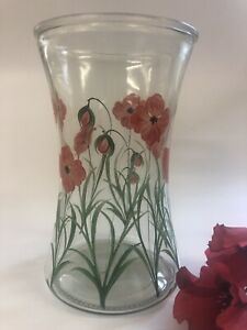 Individually Hand Painted Poppy Waisted Vase