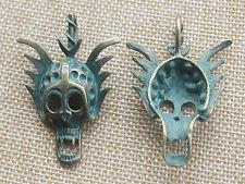 3 x Ancient Greek Bronze Skull Head Charms Pendants Beads For Jewellery Making
