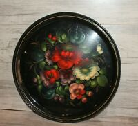 Vintage Russian hand painted floral metal tole round serving tray