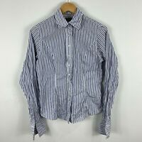 TM Lewin Womens Top Blouse Size 10 Blue White Striped Long Sleeve