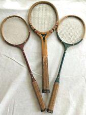 3 Vtg Racquets Aly Spalding  Champion Wood Badminton Tennis Sports Wall Decor
