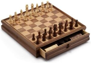 15in Large Wooden Chess and Checkers Board Game Set with Storage Drawer (USED)
