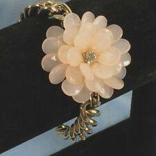 Bracelet Goldtone Chunky Chain 3D Beaded Flower Peach Pretty Wedding