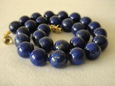 """Blue Lapis Lazuli Necklace 12mm Lapis Beads 16"""" Necklace Hand Knotted Deep 12 mm"""