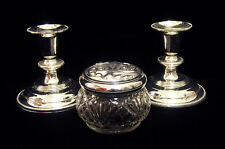 Silvertone Candle Holders Avon Jar Lot of 3