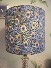 Handmade Lampshade Cotton Lawn Peacock Fabric 20 Cm Drum