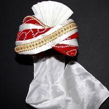 Turbante Maharaja Rosso Bianco India Bollywood Costume di Carnevale Sultano 3