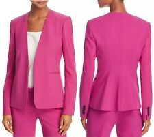 Theory VIRGIN WOOL Isita Open Front Classic Blazer Jacket Pink Womens Size 12