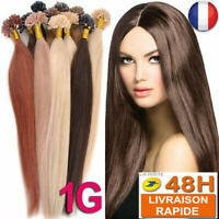 25,50,75 EXTENSION DE CHEVEUX POSE A CHAUD 100% NATUREL REMY HAIR 49-60CM 1G AAA