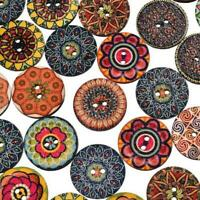 50Pcs/lot Flower Picture Wood Button 2 Holes Mixed Color Apparel Sewing DIY 25mm