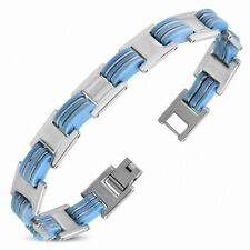 Bracelet With Link Panther Stainless Steel With Rubber Blue 480