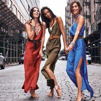 Women's Sexy Sling Silk Slit Long Dresses Ladies Summer Holiday Evening Dress