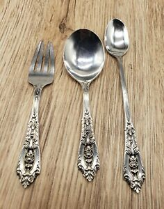 WALLACE ROSE POINT STERLING SILVER INFANT 3 PC SET BABY FORK -SPOON-INFANT SPOON