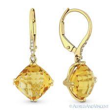 5.14 ct Cushion Cut Citrine Gem & Diamond 14k Yellow Gold Dangling Drop Earrings