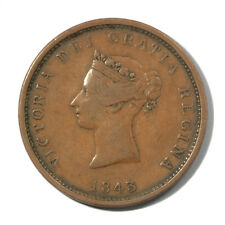 Canada Queen Victoria New Brunswick One Penny Token 1843  Ship Fine